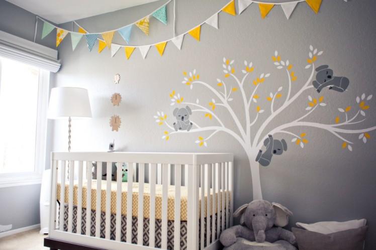 gray-and-yellow-koala-nursery-with-bunting
